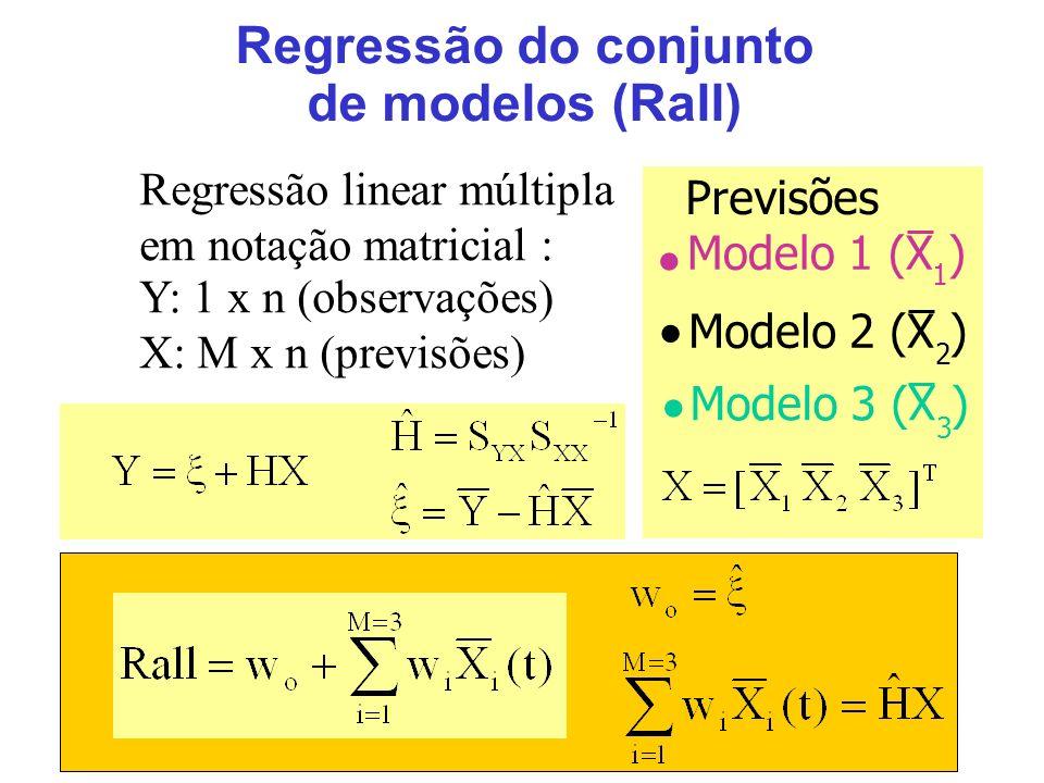 17 Regressão do conjunto de modelos (Rall) Previsões Modelo 1 (X ) Modelo 2 (X ) Modelo 3 (X ) Regressão linear múltipla em notação matricial : Y: 1 x n (observações) X: M x n (previsões) 1 2 3