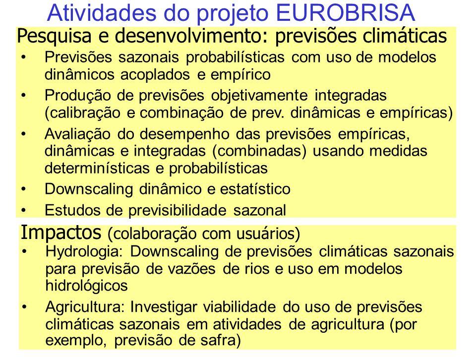 38 Atividades do projeto EUROBRISA Previsões sazonais probabilísticas com uso de modelos dinâmicos acoplados e empírico Produção de previsões objetivamente integradas (calibração e combinação de prev.