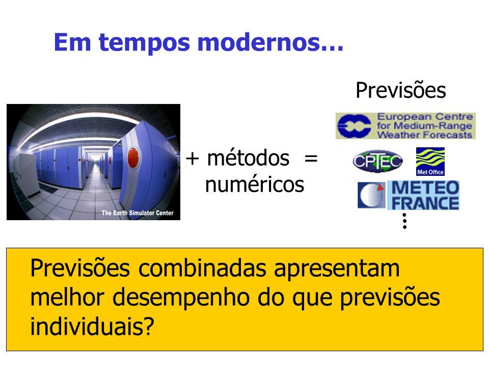 8 + métodos = numéricos Previsões combinadas apresentam melhor desempenho do que previsões individuais.