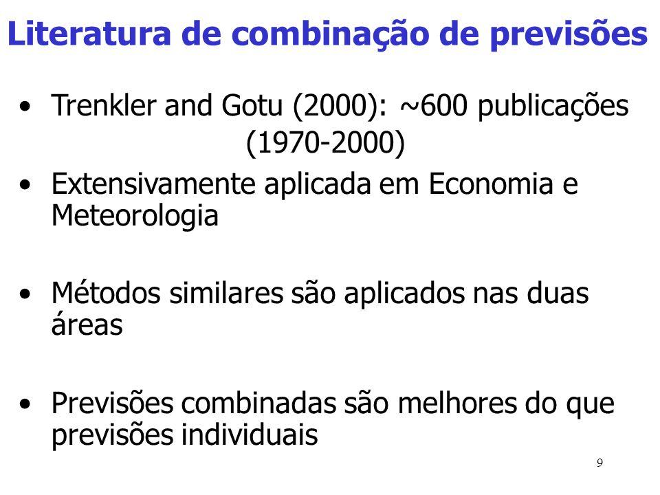 9 Literatura de combinação de previsões Trenkler and Gotu (2000): ~600 publicações (1970-2000) Extensivamente aplicada em Economia e Meteorologia Métodos similares são aplicados nas duas áreas Previsões combinadas são melhores do que previsões individuais