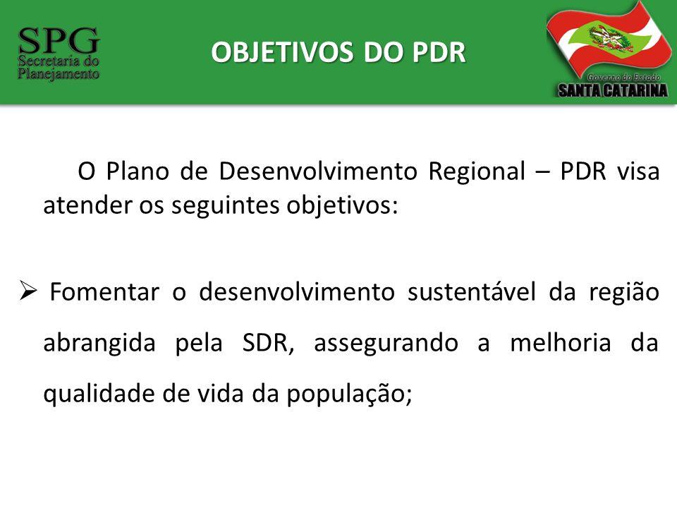OBJETIVOS DO PDR O Plano de Desenvolvimento Regional – PDR visa atender os seguintes objetivos: Fomentar o desenvolvimento sustentável da região abran