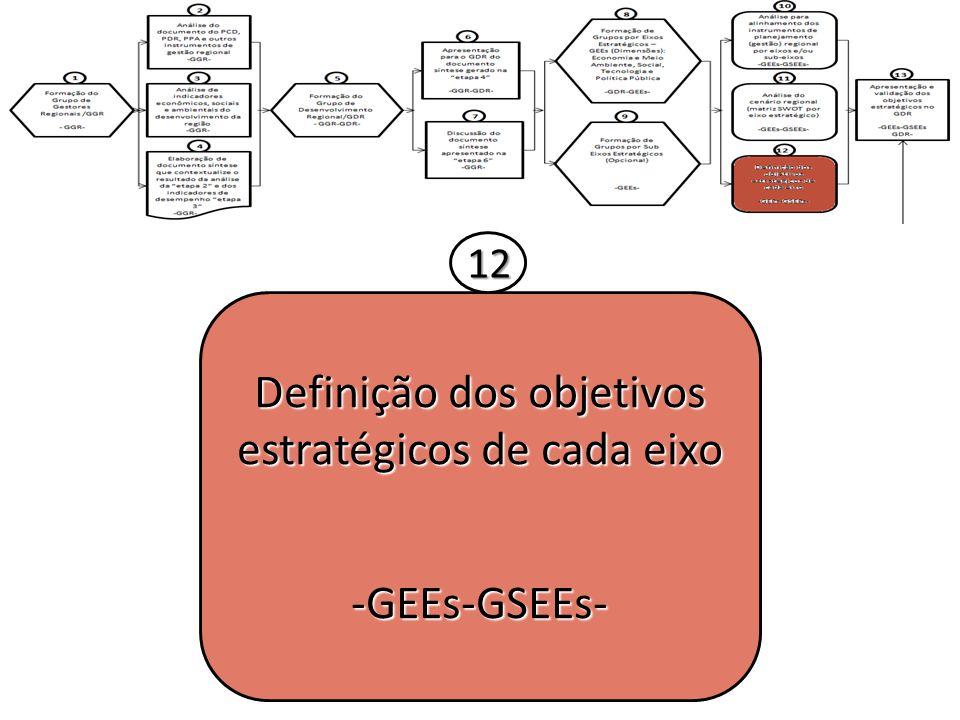 Definição dos objetivos estratégicos de cada eixo -GEEs-GSEEs- 12