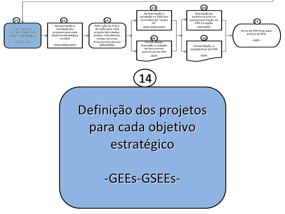 Definição dos projetos para cada objetivo estratégico -GEEs-GSEEs- 14