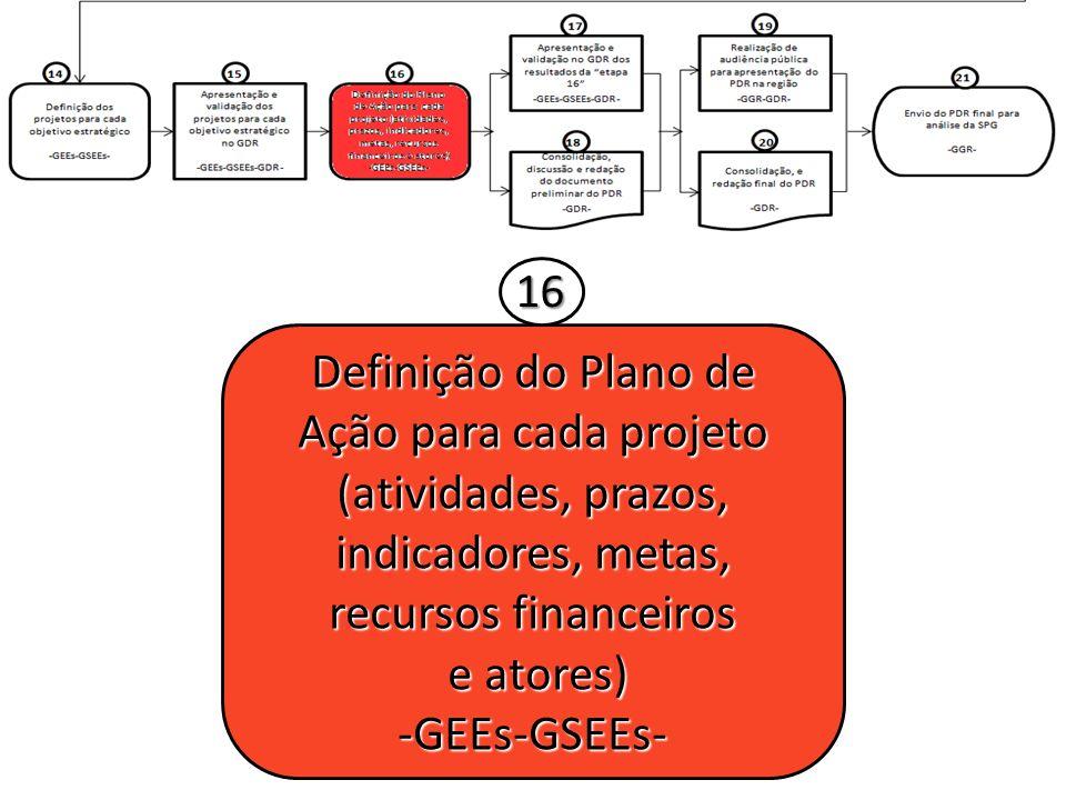 Definição do Plano de Ação para cada projeto (atividades, prazos, indicadores, metas, recursos financeiros e atores) e atores)-GEEs-GSEEs- 16