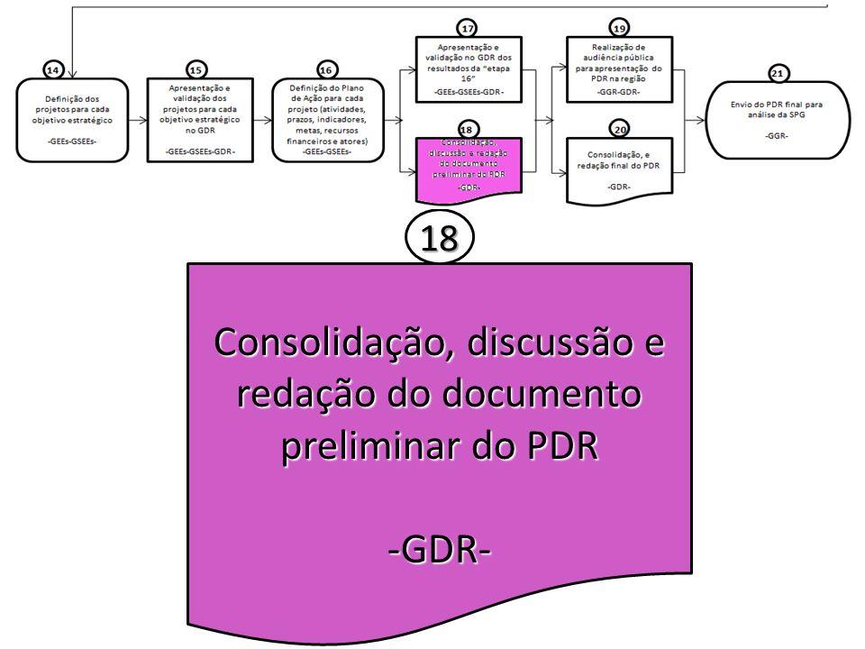 Consolidação, discussão e redação do documento preliminar do PDR -GDR- 18