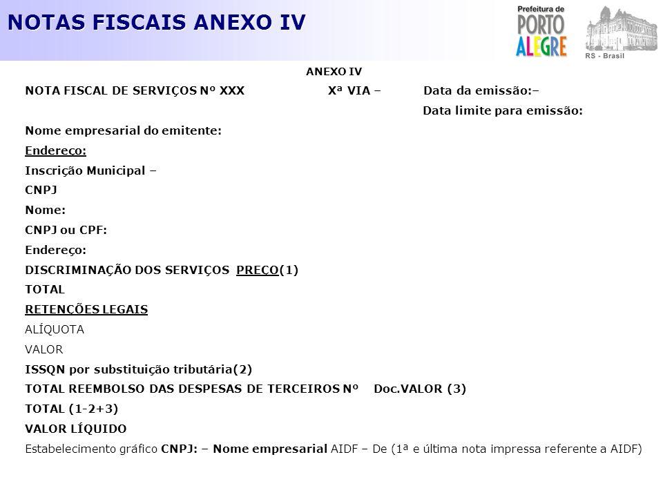 NOTAS FISCAIS ANEXO IV ANEXO IV NOTA FISCAL DE SERVIÇOS Nº XXX Xª VIA – Data da emissão:– Data limite para emissão: Nome empresarial do emitente: Ende