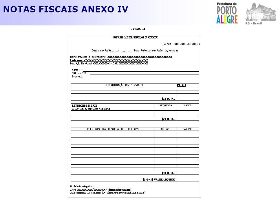 NOTAS FISCAIS ANEXO IV