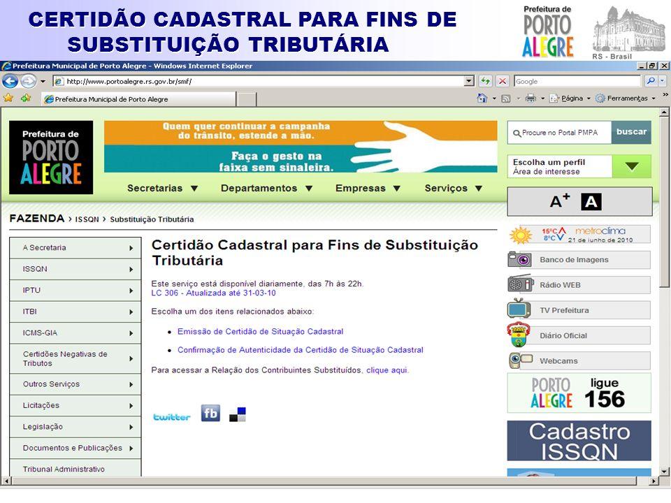 CERTIDÃO CADASTRAL PARA FINS DE SUBSTITUIÇÃO TRIBUTÁRIA