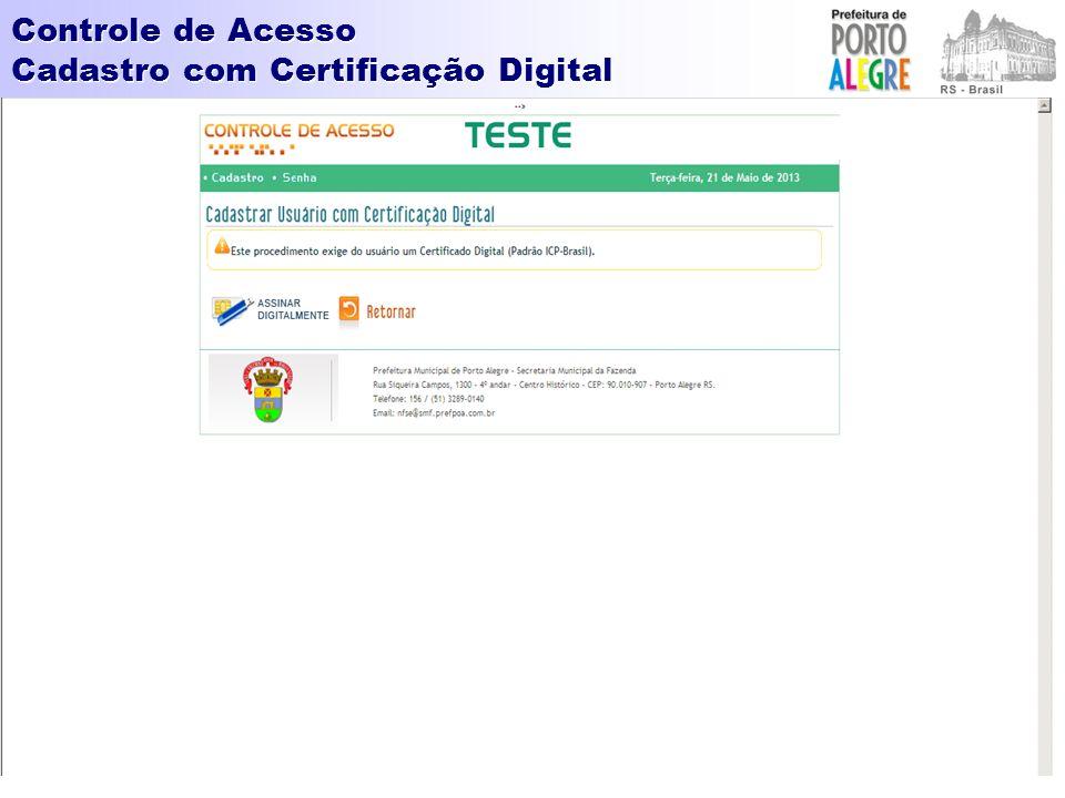 Controle de Acesso Cadastro com Certificação Digital