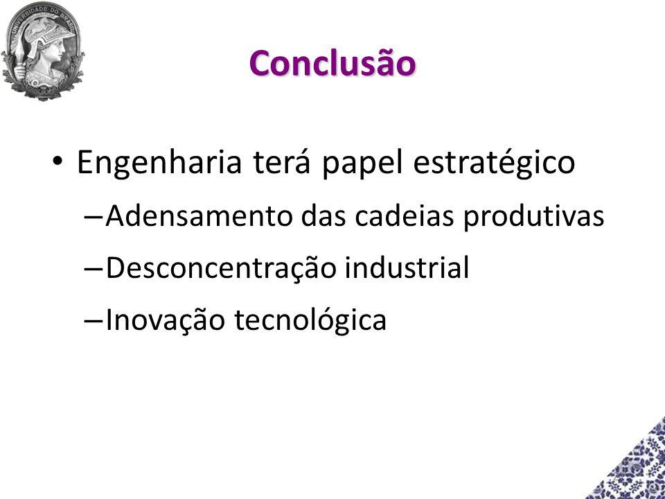 Conclusão Engenharia terá papel estratégico – Adensamento das cadeias produtivas – Desconcentração industrial – Inovação tecnológica 27
