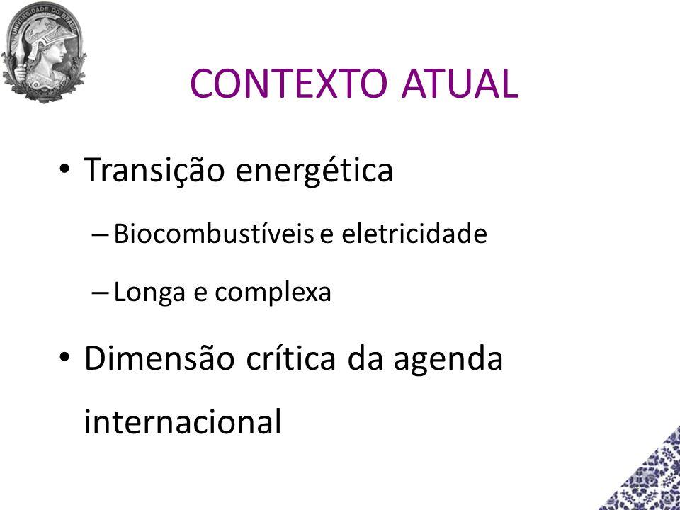 4 CONTEXTO ATUAL Transição energética – Biocombustíveis e eletricidade – Longa e complexa Dimensão crítica da agenda internacional