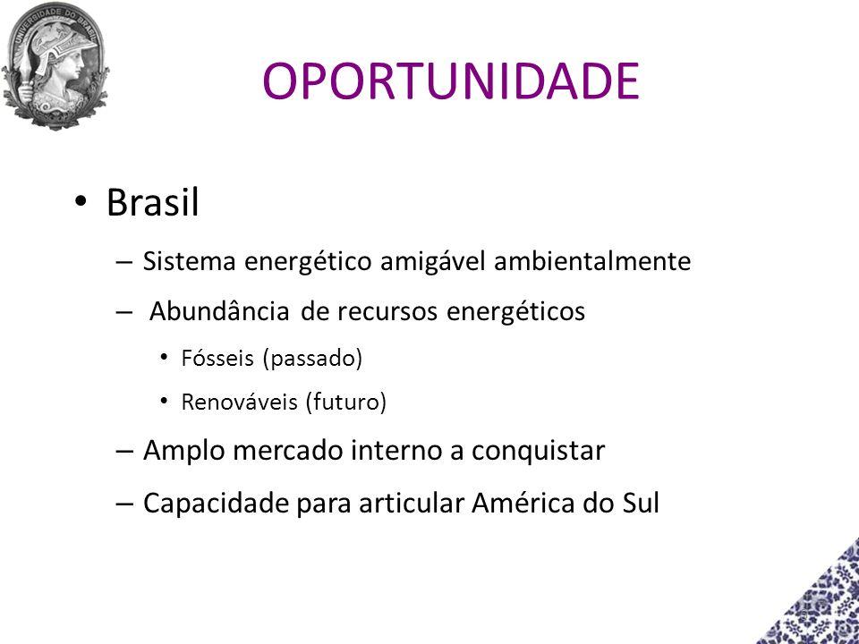 OPORTUNIDADE Brasil – Sistema energético amigável ambientalmente – Abundância de recursos energéticos Fósseis (passado) Renováveis (futuro) – Amplo me
