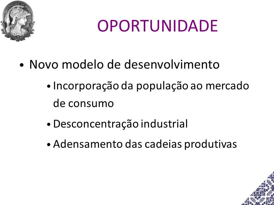 OPORTUNIDADE Novo modelo de desenvolvimento Incorporação da população ao mercado de consumo Desconcentração industrial Adensamento das cadeias produti
