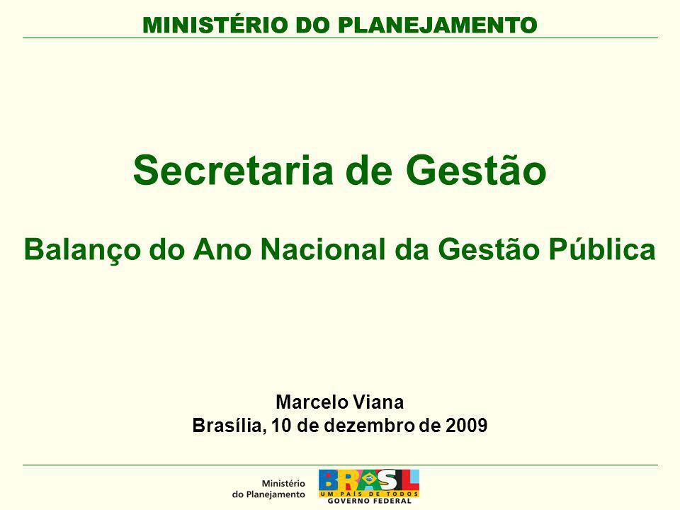 MINISTÉRIO DO PLANEJAMENTO Secretaria de Gestão Balanço do Ano Nacional da Gestão Pública MINISTÉRIO DO PLANEJAMENTO Marcelo Viana Brasília, 10 de dez