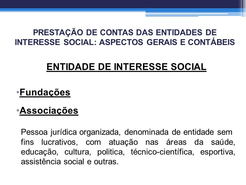 PRESTAÇÃO DE CONTAS DAS ENTIDADES DE INTERESSE SOCIAL: ASPECTOS GERAIS E CONTÁBEIS ENTIDADE DE INTERESSE SOCIAL Fundações Associações Pessoa jurídica