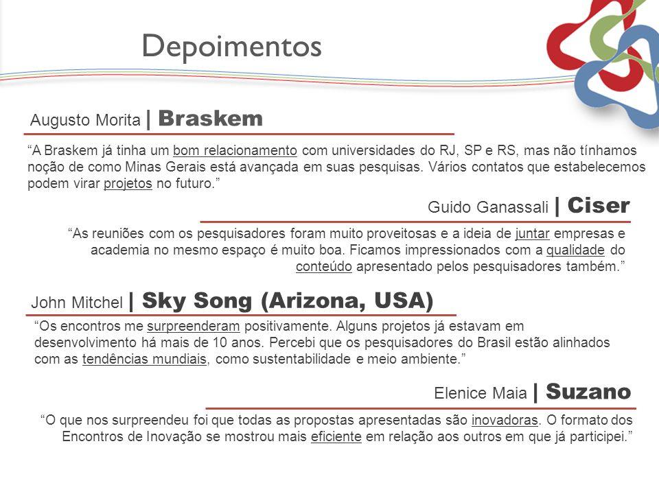 Depoimentos A Braskem já tinha um bom relacionamento com universidades do RJ, SP e RS, mas não tínhamos noção de como Minas Gerais está avançada em su