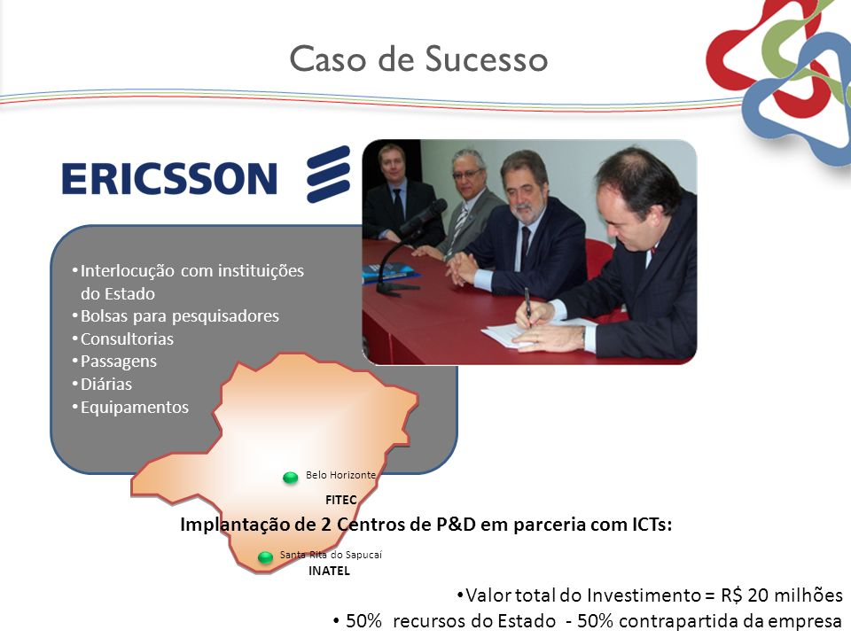 Interlocução com instituições do Estado Bolsas para pesquisadores Consultorias Passagens Diárias Equipamentos Valor total do Investimento = R$ 20 milh