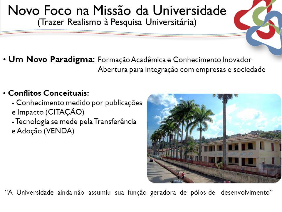 A Universidade ainda não assumiu sua função geradora de pólos de desenvolvimento Um Novo Paradigma: Formação Acadêmica e Conhecimento Inovador Abertur