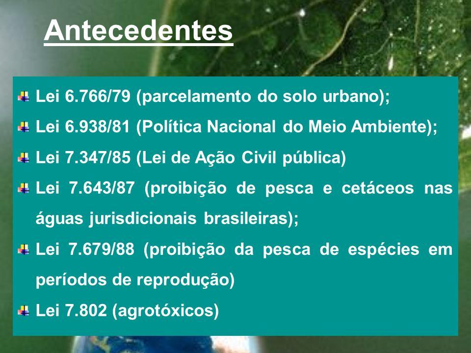 Antecedentes Lei 6.766/79 (parcelamento do solo urbano); Lei 6.938/81 (Política Nacional do Meio Ambiente); Lei 7.347/85 (Lei de Ação Civil pública) Lei 7.643/87 (proibição de pesca e cetáceos nas águas jurisdicionais brasileiras); Lei 7.679/88 (proibição da pesca de espécies em períodos de reprodução) Lei 7.802 (agrotóxicos)