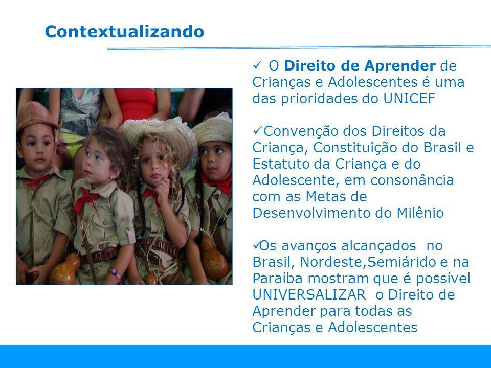 O Direito de Aprender de Crianças e Adolescentes é uma das prioridades do UNICEF Convenção dos Direitos da Criança, Constituição do Brasil e Estatuto