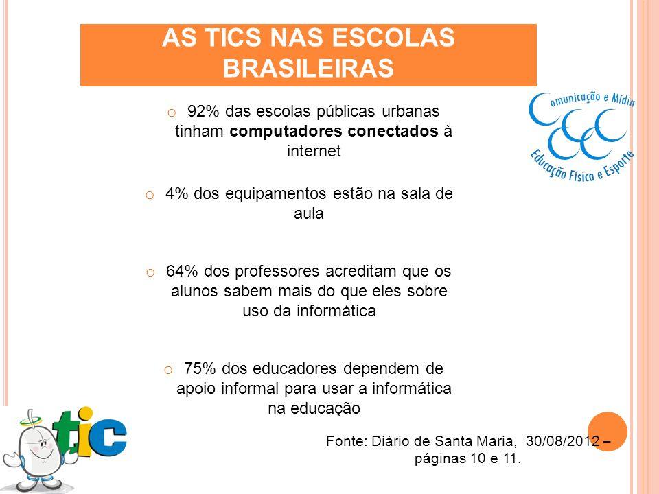 AS TICS NAS ESCOLAS BRASILEIRAS o 92% das escolas públicas urbanas tinham computadores conectados à internet o 4% dos equipamentos estão na sala de au