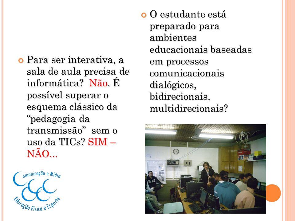 Para ser interativa, a sala de aula precisa de informática? Não. É possível superar o esquema clássico da pedagogia da transmissão sem o uso da TICs?