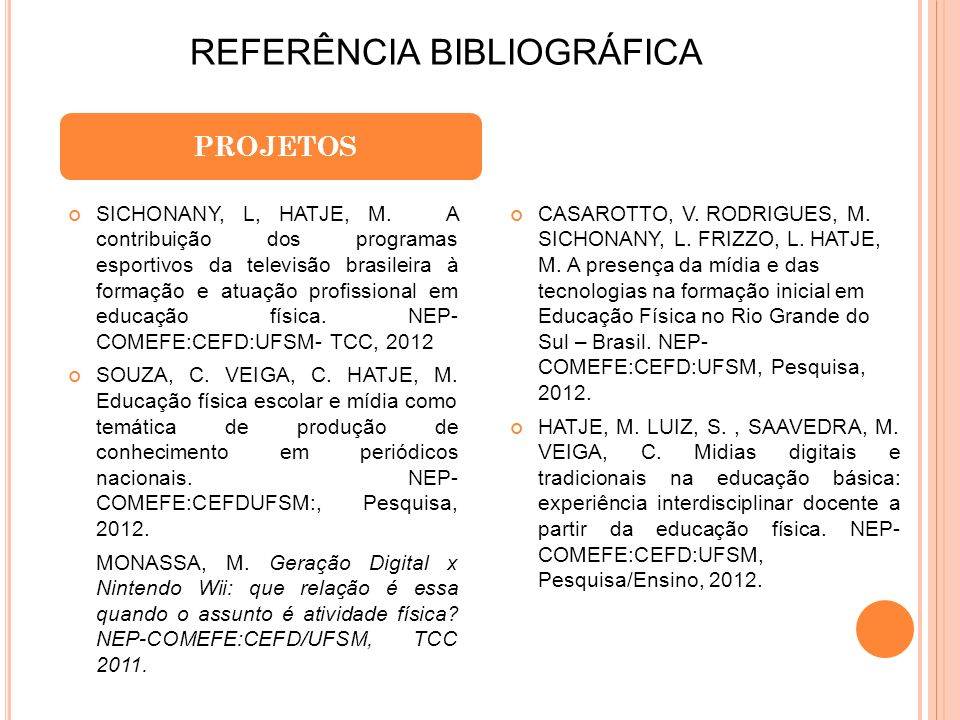 REFERÊNCIA BIBLIOGRÁFICA PROJETOS SICHONANY, L, HATJE, M. A contribuição dos programas esportivos da televisão brasileira à formação e atuação profiss