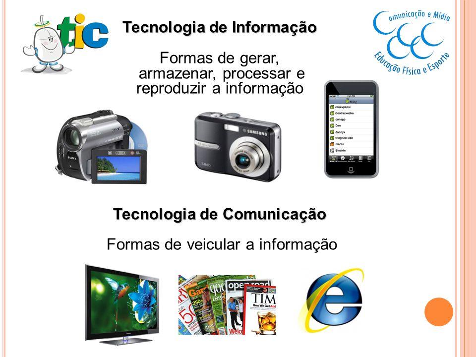 Tecnologia de Informação Formas de gerar, armazenar, processar e reproduzir a informação Tecnologia de Comunicação Formas de veicular a informação