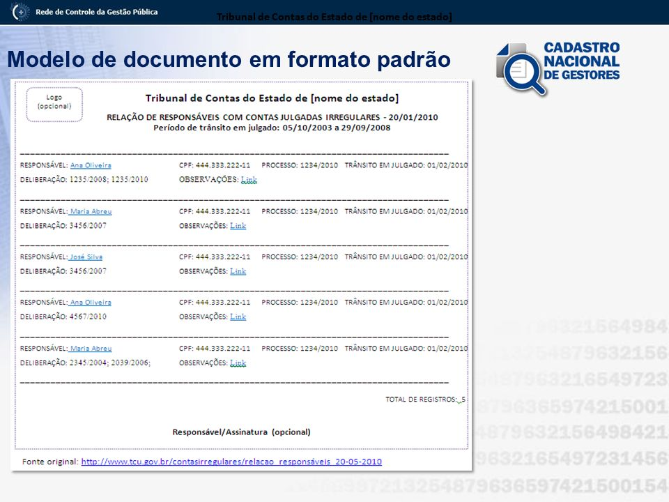 Modelo de documento em formato padrão Tribunal de Contas do Estado de [nome do estado]