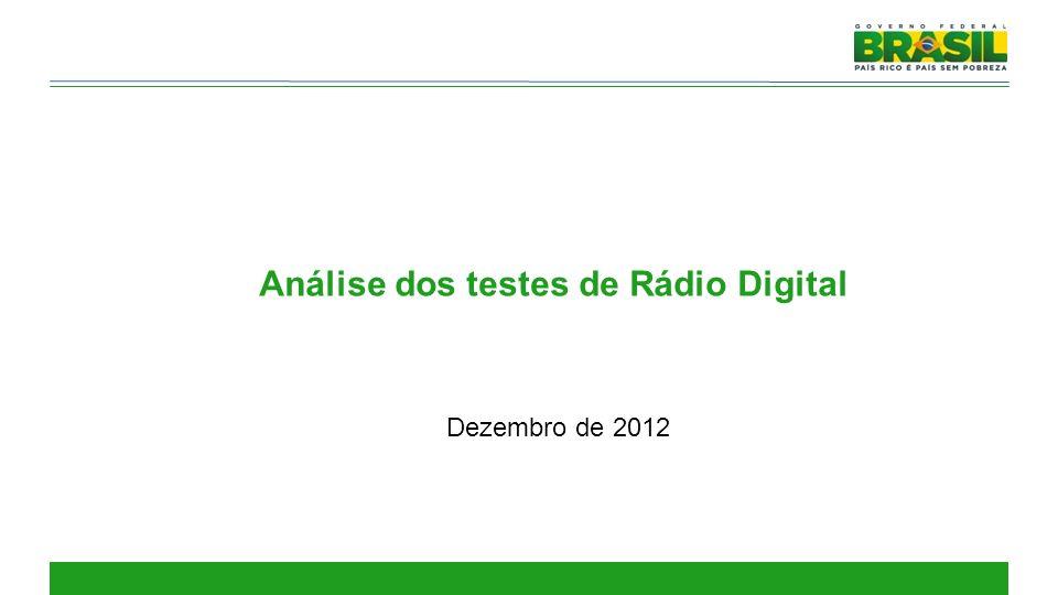 Análise dos testes de Rádio Digital Dezembro de 2012