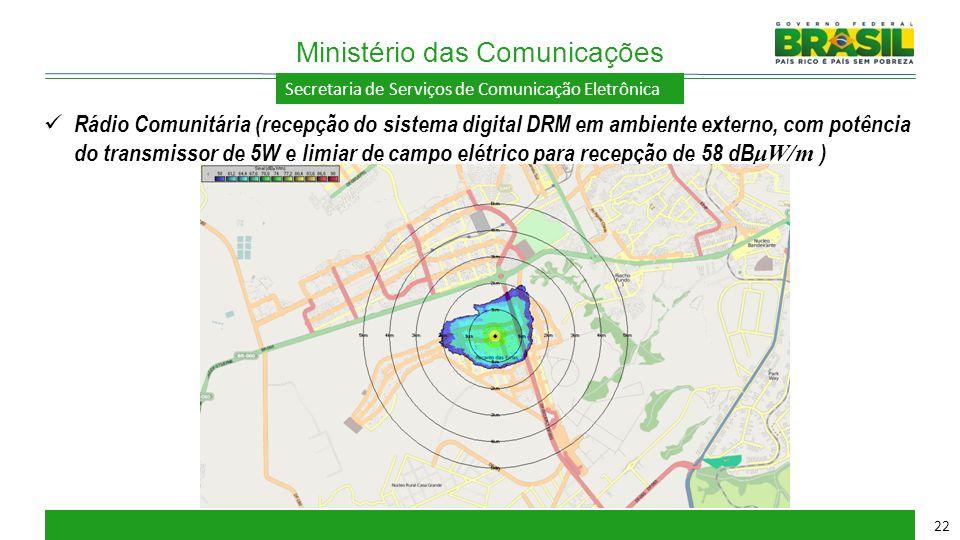 Secretaria de Serviços de Comunicação Eletrônica Ministério das Comunicações 22 Rádio Comunitária (recepção do sistema digital DRM em ambiente externo