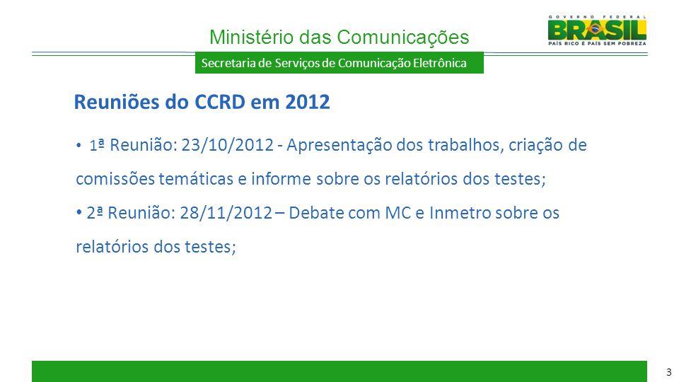 Secretaria de Serviços de Comunicação Eletrônica 1 ª Reunião: 23/10/2012 - Apresentação dos trabalhos, criação de comissões temáticas e informe sobre