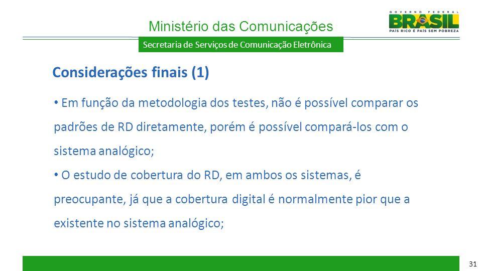 Secretaria de Serviços de Comunicação Eletrônica Em função da metodologia dos testes, não é possível comparar os padrões de RD diretamente, porém é po