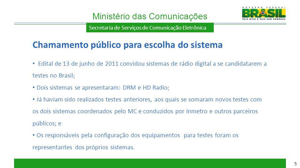 Secretaria de Serviços de Comunicação Eletrônica Edital de 13 de junho de 2011 convidou sistemas de rádio digital a se candidatarem a testes no Brasil