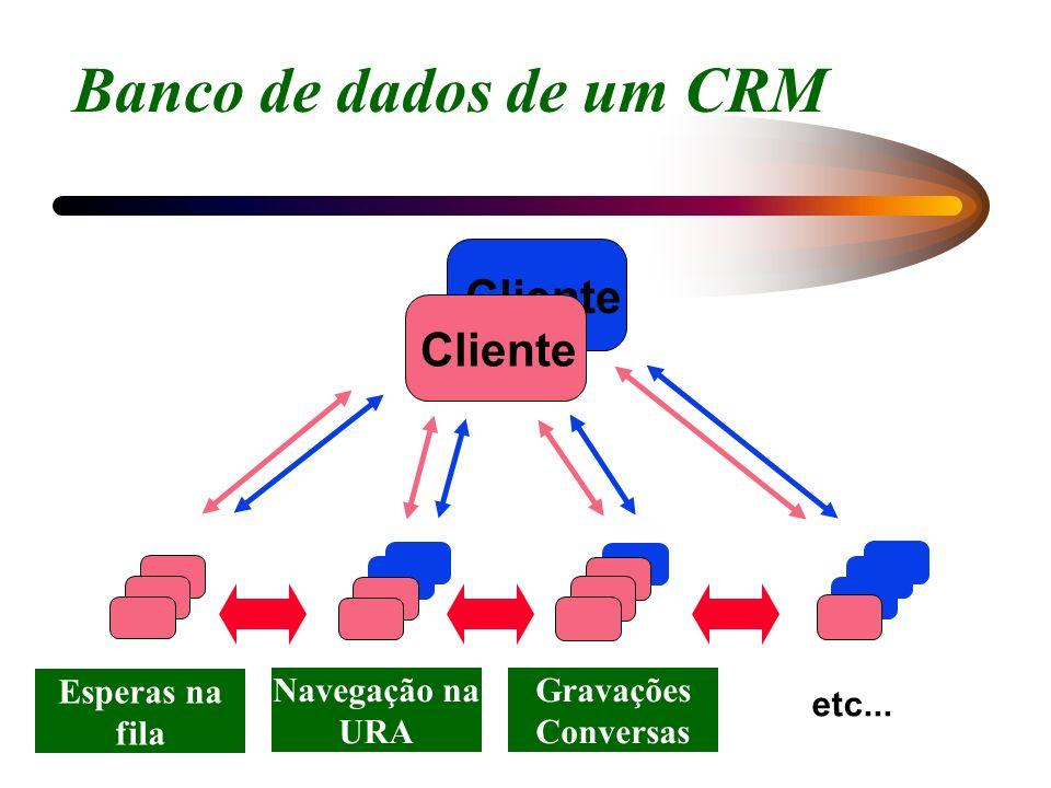 Cliente AnotaçõesPedidos Contatos etc... Banco de dados de um CRM Esperas na fila Gravações Conversas Navegação na URA