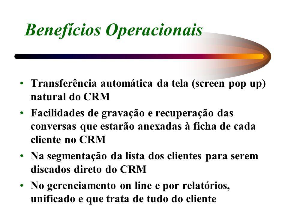 Benefícios Operacionais Transferência automática da tela (screen pop up) natural do CRM Facilidades de gravação e recuperação das conversas que estarã