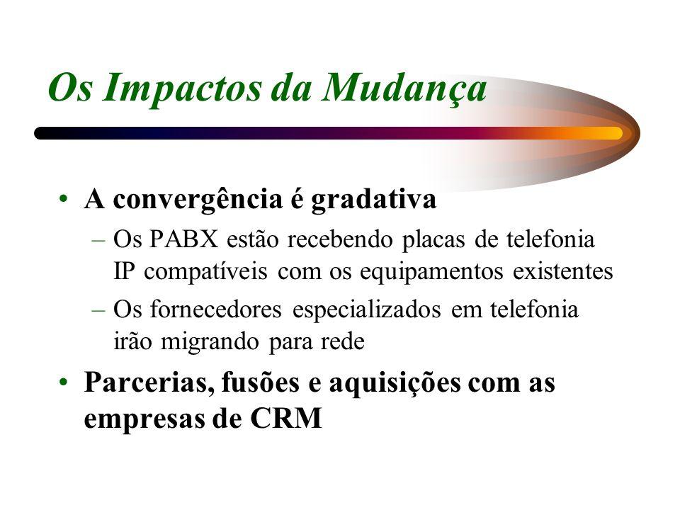 Os Impactos da Mudança A convergência é gradativa –Os PABX estão recebendo placas de telefonia IP compatíveis com os equipamentos existentes –Os forne