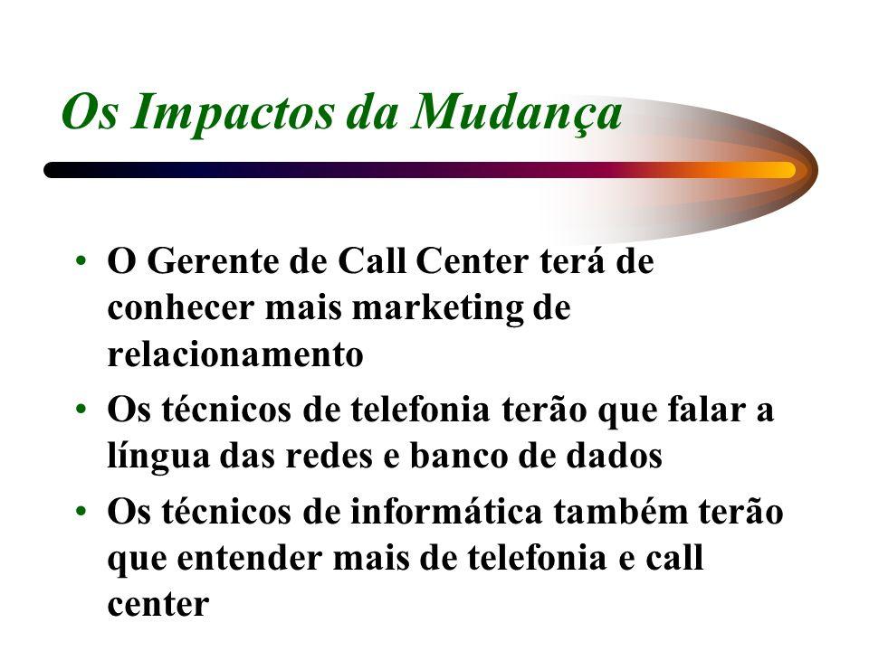 Os Impactos da Mudança O Gerente de Call Center terá de conhecer mais marketing de relacionamento Os técnicos de telefonia terão que falar a língua da