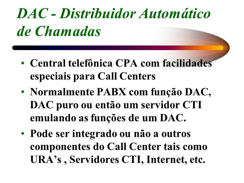 DAC - Distribuidor Automático de Chamadas Central telefônica CPA com facilidades especiais para Call Centers Normalmente PABX com função DAC, DAC puro