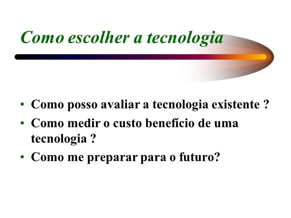 Como escolher a tecnologia Como posso avaliar a tecnologia existente ? Como medir o custo benefício de uma tecnologia ? Como me preparar para o futuro