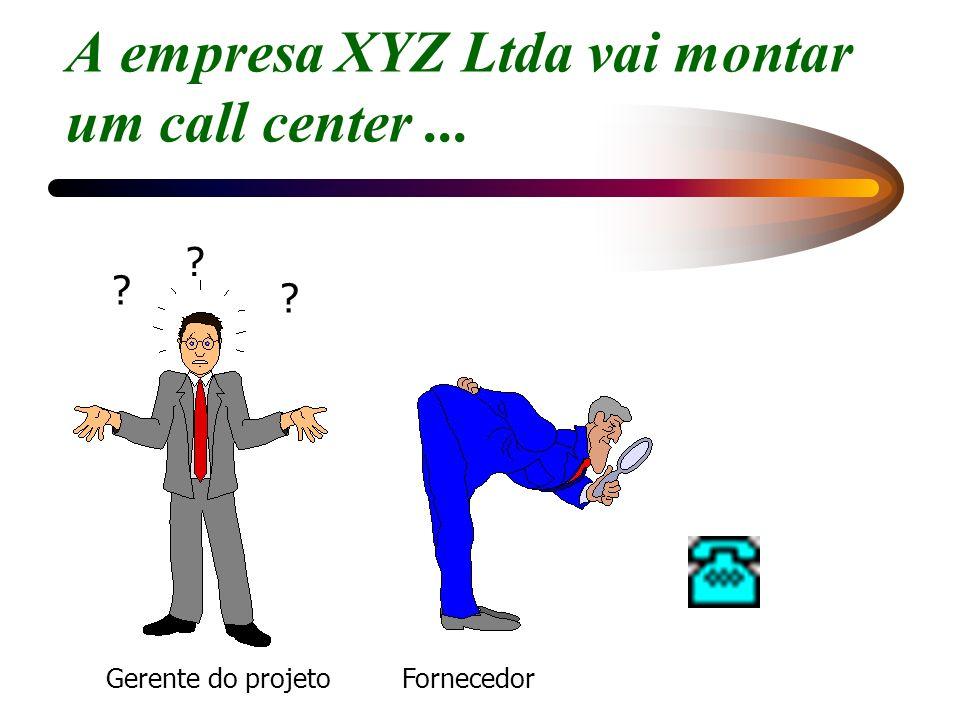 A empresa XYZ Ltda vai montar um call center... Gerente do projeto ? ? ? Fornecedor