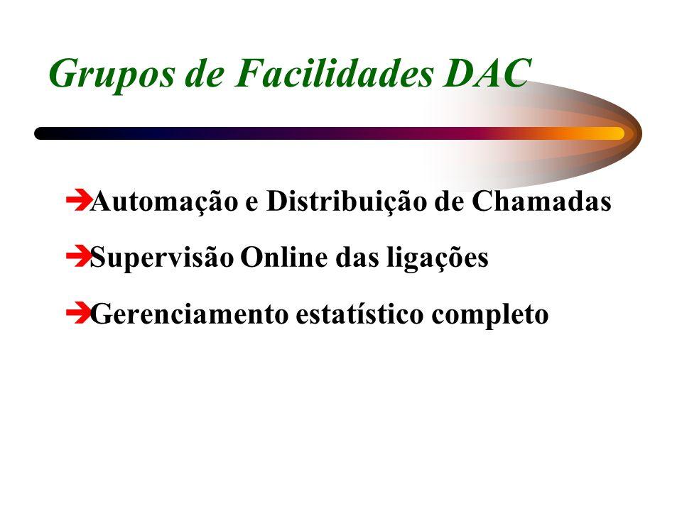 Grupos de Facilidades DAC èAutomação e Distribuição de Chamadas èSupervisão Online das ligações èGerenciamento estatístico completo