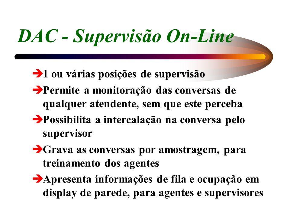 DAC - Supervisão On-Line è1 ou várias posições de supervisão èPermite a monitoração das conversas de qualquer atendente, sem que este perceba èPossibi