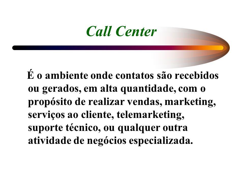 Call Center É o ambiente onde contatos são recebidos ou gerados, em alta quantidade, com o propósito de realizar vendas, marketing, serviços ao client