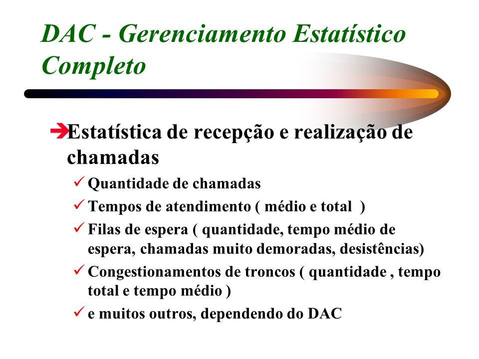 DAC - Gerenciamento Estatístico Completo èEstatística de recepção e realização de chamadas Quantidade de chamadas Tempos de atendimento ( médio e tota