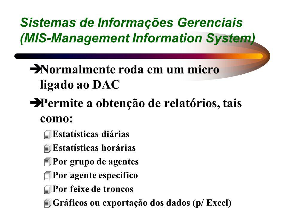 Sistemas de Informações Gerenciais (MIS-Management Information System) èNormalmente roda em um micro ligado ao DAC èPermite a obtenção de relatórios,