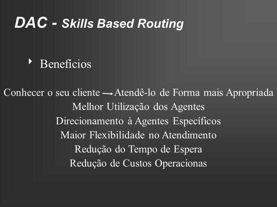 DAC - Skills Based Routing Benefícios Conhecer o seu cliente Atendê-lo de Forma mais Apropriada Melhor Utilização dos Agentes Direcionamento à Agentes