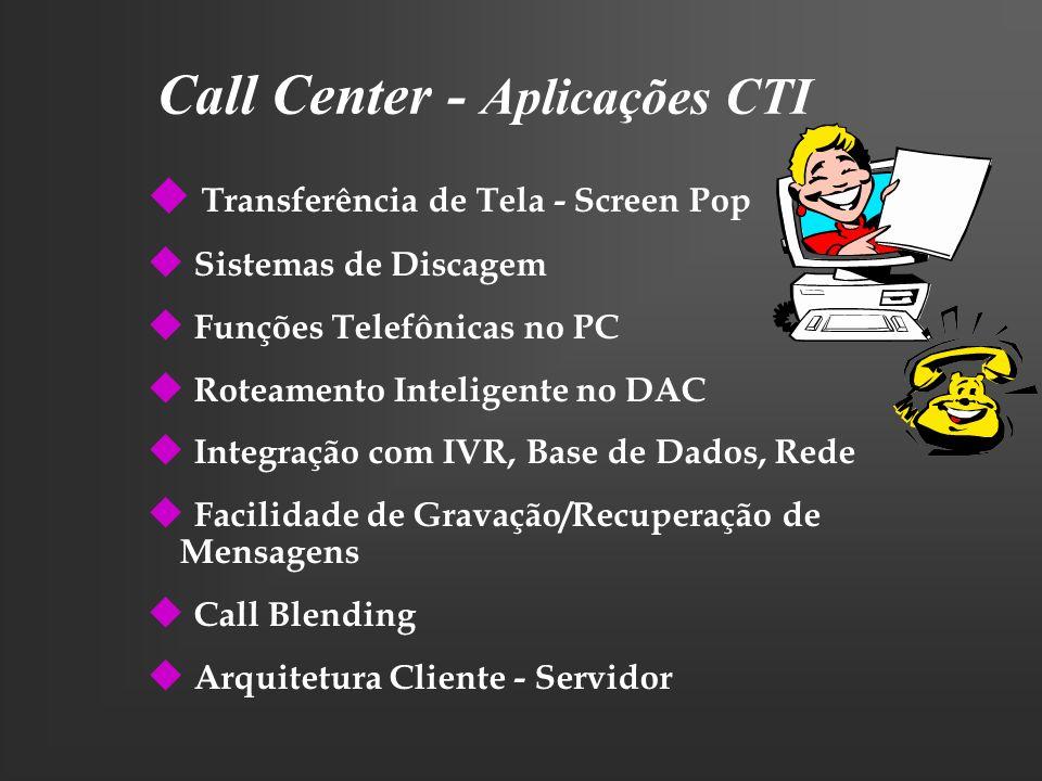 Call Center - Aplicações CTI u Transferência de Tela - Screen Pop u Sistemas de Discagem u Funções Telefônicas no PC u Roteamento Inteligente no DAC u
