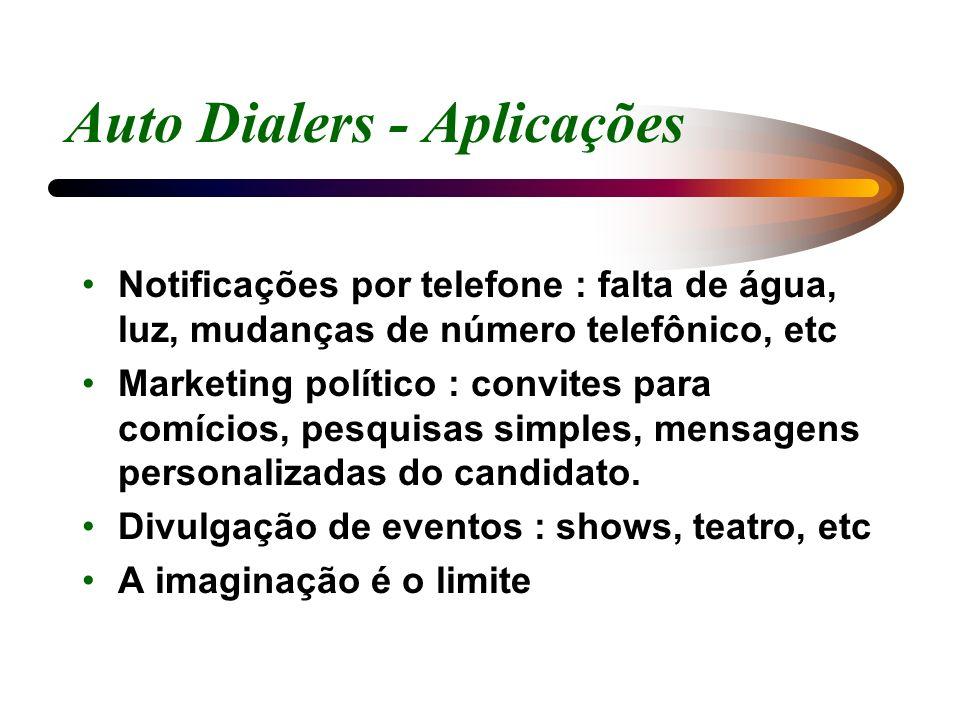 Auto Dialers - Aplicações Notificações por telefone : falta de água, luz, mudanças de número telefônico, etc Marketing político : convites para comíci