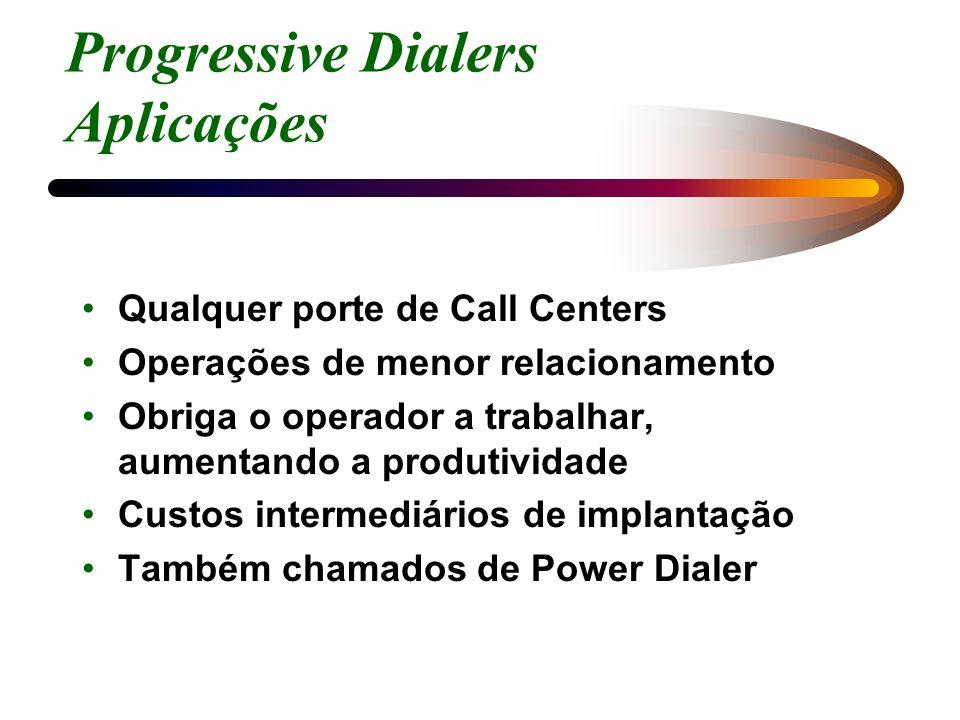 Progressive Dialers Aplicações Qualquer porte de Call Centers Operações de menor relacionamento Obriga o operador a trabalhar, aumentando a produtivid